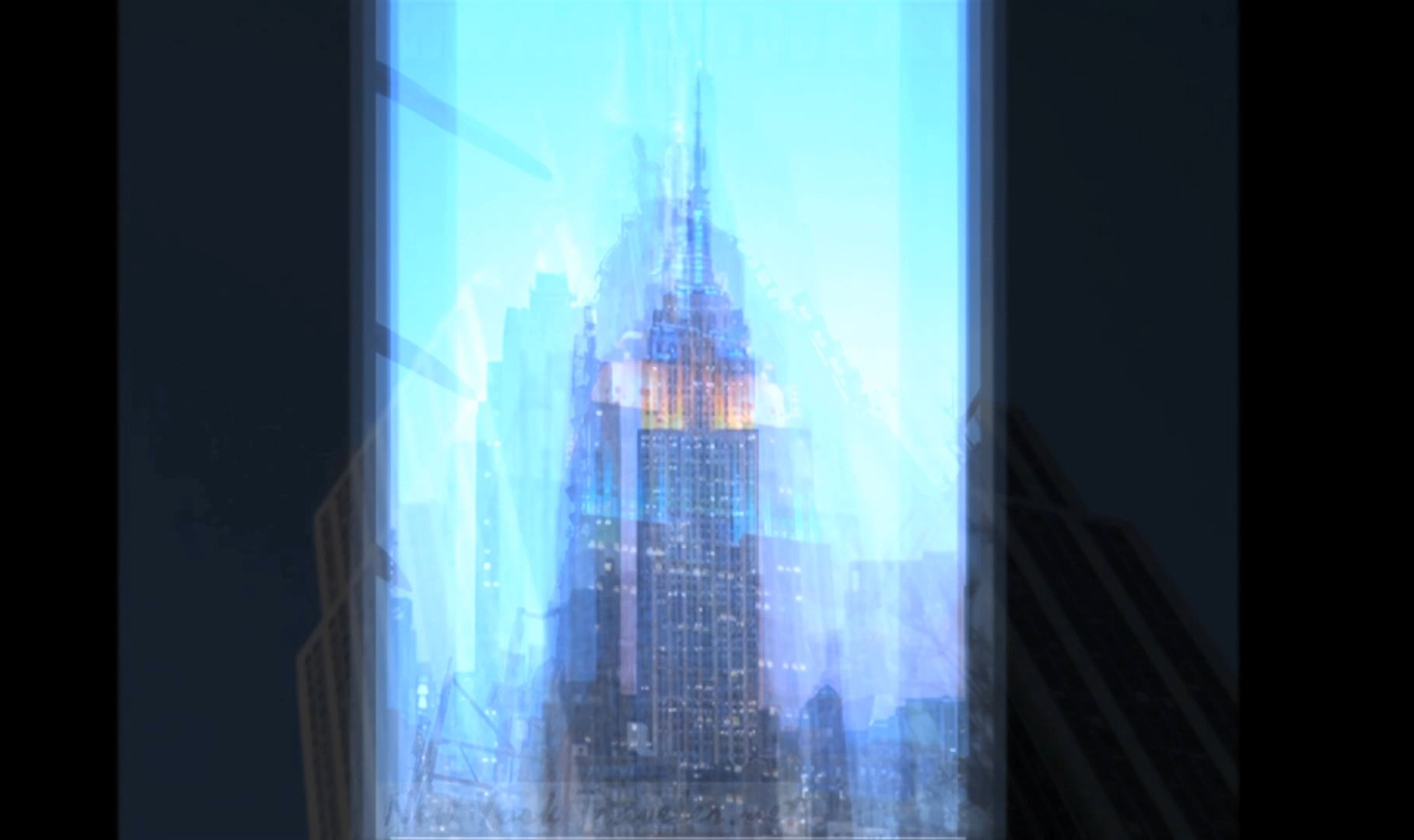 arrêt sur image de Blue Empire New York Babel Billboard, 2013, Jocelyn Robert, Vidéogramme couleur, 8 min. 34 sec., bande son stéréophonique, Édition de 5, E.A..