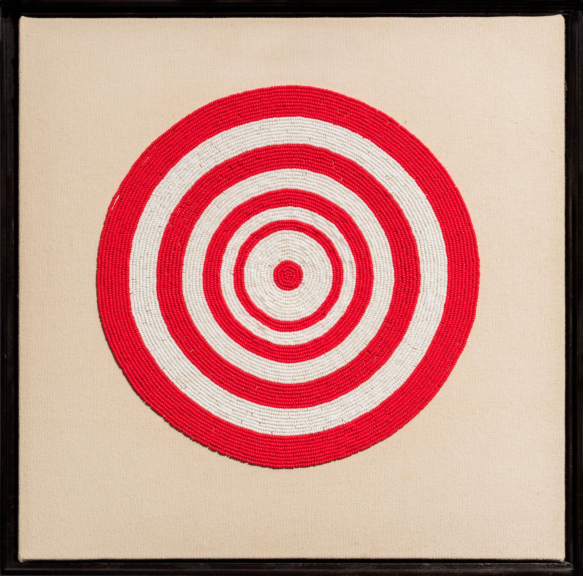 Contact: When Odd Gets Even, 2002, Nadia Myre, Perles de rocaille, fil et toile.