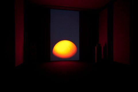 31 soleils (Dawn Chorus), 2010, Jean-Pierre Aubé, Vidéogramme, 23 min. 55 sec., son, système de haut-parleurs à 12 composantes, console, 4 amplificateurs, ordinateur, câbles, boîte de transport et projecteur vidéo.