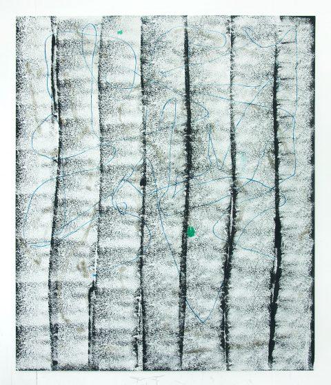 Histories, 2011, Justin Stephens, Acrylique, encre, papier, crayon, agrafes et brûlures sur toile.