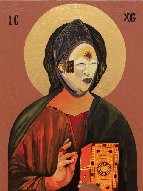 Christ Pantocrator n°11, 2020, Moridja Kitenge Banza, Acrylique et feuille d'or sur bois.